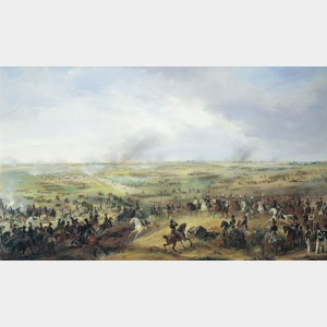 La bataille de Leipzig, Alexander Ivanovich Sauerweid © musée national de l'Artillerie, Russie