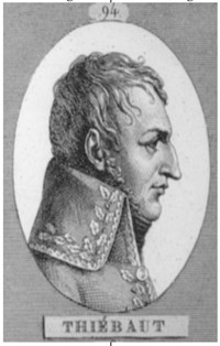 <i>Thiébaut</i>. Part of a series of 100 Generals, engraved by Bovinet, ca. 1830.&#8221; />At about 0830, the columns began to move. General Morand&#39;s 10th <EM>Léger</EM>, deployed in line, angled slightly to the southeast towards the Pratzeberg. Behind the 10th, Thiébault&#39;s brigade marched up the gently rising slope in a line of battalion attack columns. As the Brigade crossed the 240 meter contour, Thiébault ordered the left-hand battalion, the 1st Battalion of the 14th <EM>Ligne</EM> (1/14) under the regimental commander, Colonel Jacques François Mazas, to clear the village of Pratze on their left. Deploying into a line of companies, but without sending forward skirmishers, the battalion moved to the edge of a ravine through which a branch of the Goldbach brook flowed, separating the battalion from the village. As it reached the edge of the ravine, a Russian battalion concealed on the other side of the ravine stood and fired a volley that broke the battalion. It turned and fled back behind the rest of the brigade, and for a short time, only two guns of the 5th Foot Artillery, which had accompanied the battalion, remained to oppose the Allied buildup south of the village. The Russian reserve battalion, the Apsheron Musketeers, reinforced by three additional battalions of the Little Russian Grenadiers, charged three times. Twice, the gunners drove them back. The third time, they abandoned their guns.<BR><BR>Thiébault reacted:<BR><BR><EM>&#8230;I rode forward, calling to Mazas to rally his battalion. Then, having dismounted and ordered the 36th (his right two battalions) to march on the village &#8230; and charging at the head of the 2d battalion of the 14th, which deployed as it ran, I flung myself into the ravine where my horse could not have got down, attacked the Russians with the bayonet and routed them&#8230;.</EM>(<A class=texteIntro href=