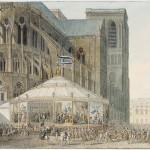 Rotonde décorée de tapisseries, accueillant les invités lors de leur arrivée à Notre-Dame [Sacre de Napoléon Ier, 2 décembre 1804]