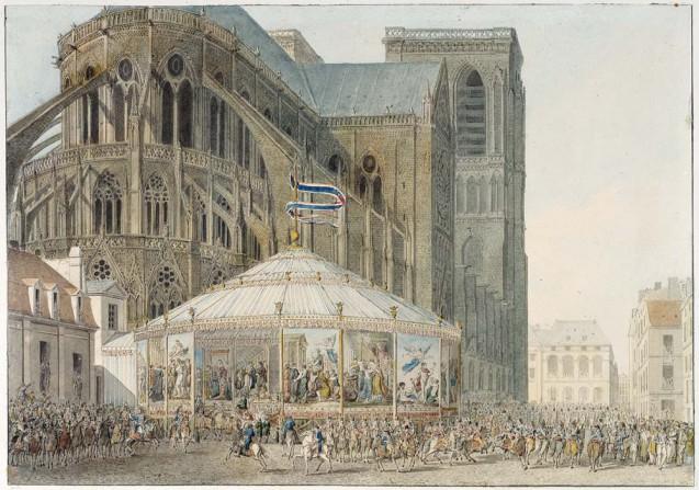 Rotonde décorée de tapisseries, accueillant les invités lors de leur arrivée à Notre-Dame, par Fontaine © Fondation Napoléon - Patrice Maurin Berthier