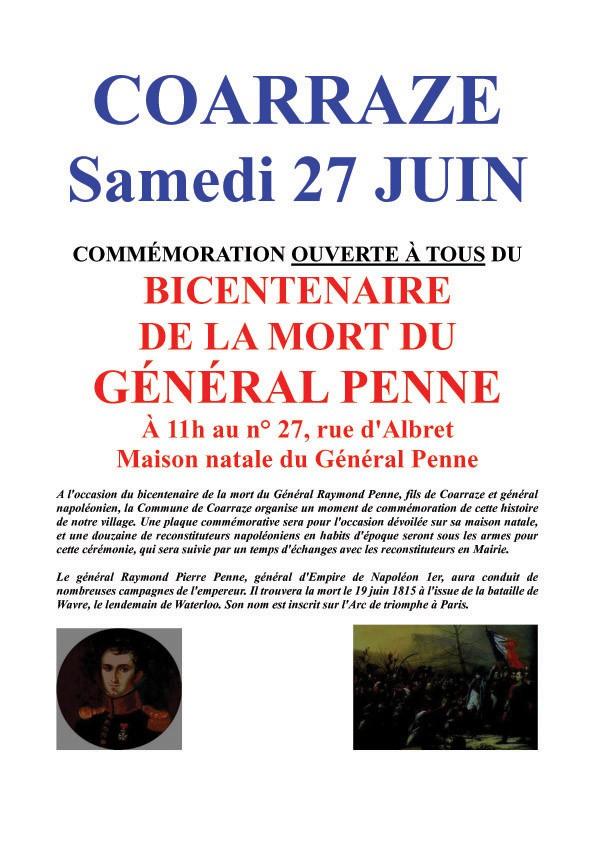 Bicentenaire de la mort du général Penne