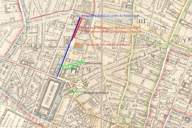 Projet d'aménagement aux abords de la Bourse : rue et place (1812) © Fondation Napoléon / I. Delage