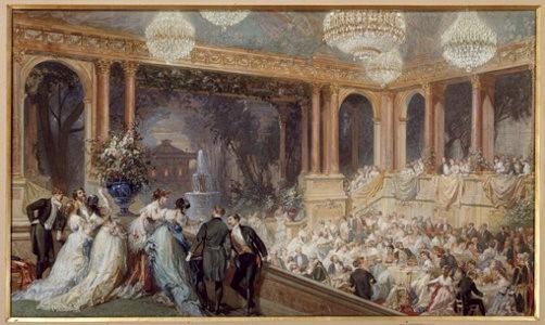 Fête officielle au palais des Tuileries. 1867. Aquarelle gouachée. Musées et domaine nationaux du Palais de Compiègne. © RMN - Grand Palais (domaine de Compiègne) / Droits réservés