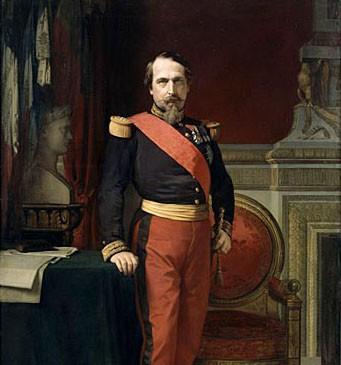 Portrait en pied de Napoléon III, en uniforme de général de brigade, dans son Grand Cabinet aux Tuileries, par J.-H. Flandrin, 1861, musée du château de Versailles © art.rmngp.fr