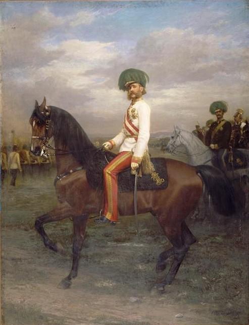 François-Joseph à cheval (1830-1916), empereur d'Autriche