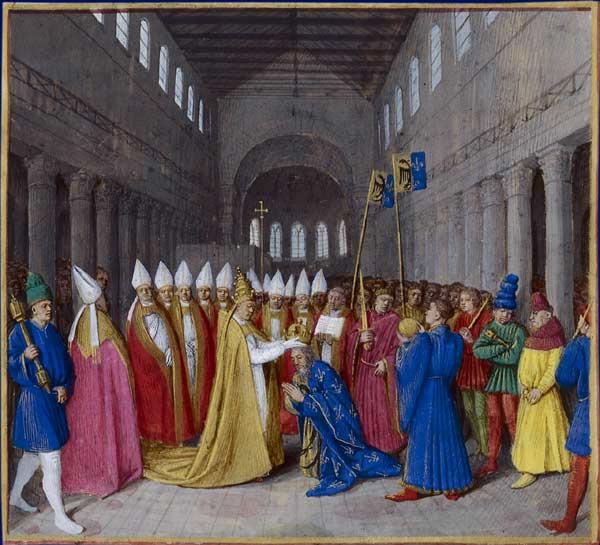 Jean Fouquet, Grandes Chroniques de France - Sacre de Charlemagne en 800 en tant qu'empereur des romains par le pape Léon III © Wikipedia.