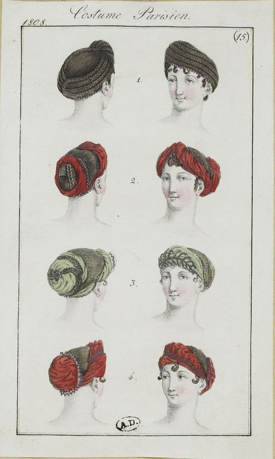 A Parisian fashion plate, 1808, shows the turban as a female fashion accessory [Pinterest]