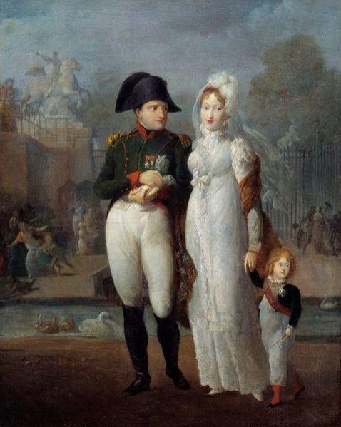 Napoléon, Marie-Louise et le roi de Rome dans les jardins des Tuileries, Anonyme © Wikipedia