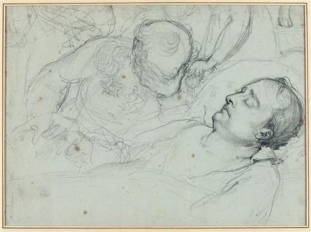 Le grand-maréchal Bertrand pleurant près du corps de Napoléon