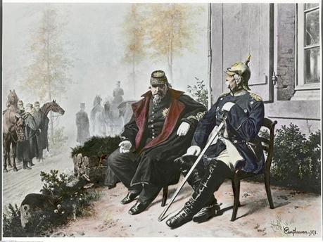 Napoléon III et Bismarck le matin après la bataille de Sedan le 2 septembre 1870, d'après W. Camphausen, anonyme © Wikicommons