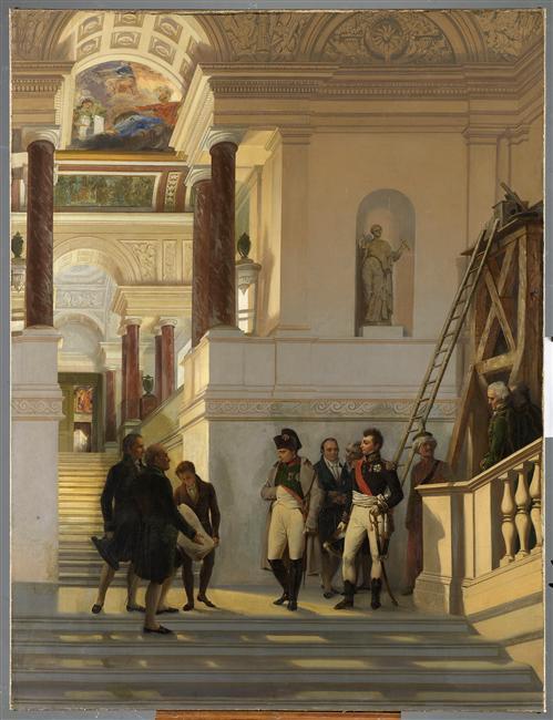 Napoléon Ier visitant l'escalier du Louvre sous la conduite des architectes Percier et Fontaine © RMN-Grand Palais (musée du Louvre) Thierry Ollivier