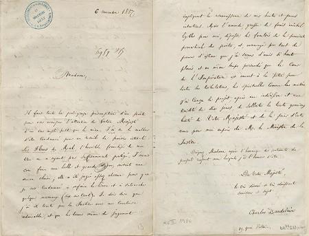 Lettre de Charles Baudelaire à l'Impératrice Eugénie