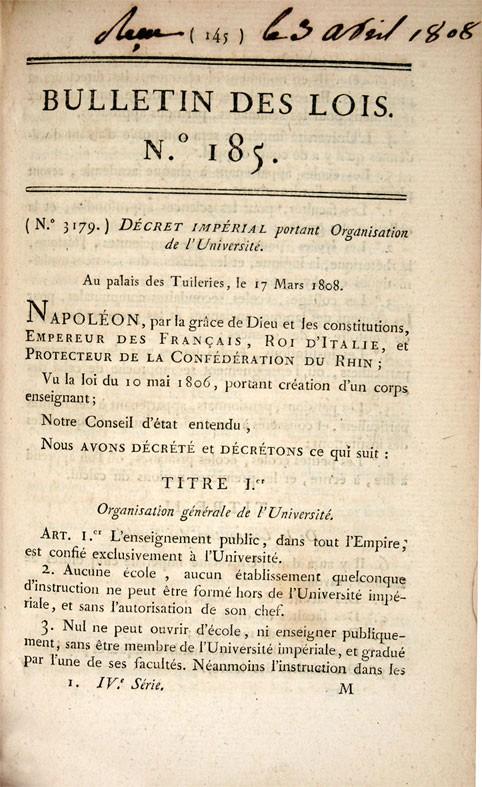 L'enseignement de l'Histoire sous le Consulat et l'Empire