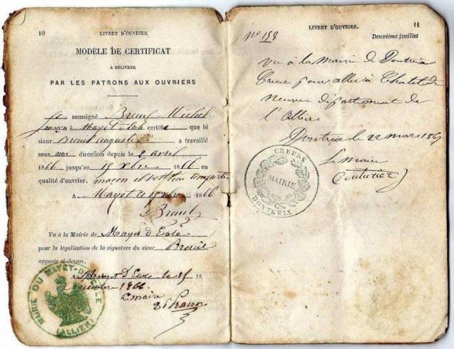 Page du Livret ouvrier d'Auguste Breuil (1866-67)