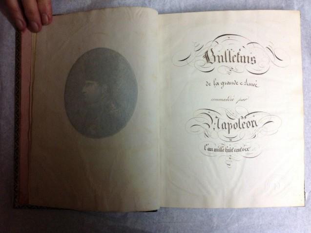 Bulletins de la Grande Armée commandée par Napoléon, Suivi du traité de Tilsitt, 1806 - Page de garde © Fondation Napoléon