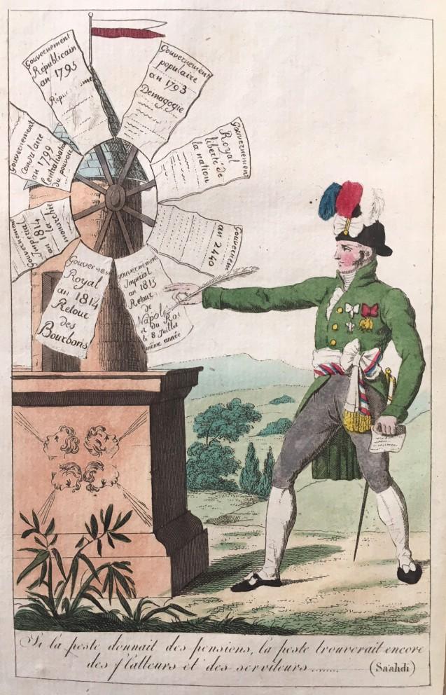 Illustration en vis-à-vis de la page de garde du Dictionnaire des girouettes de 1815 © Fondation Napoléon