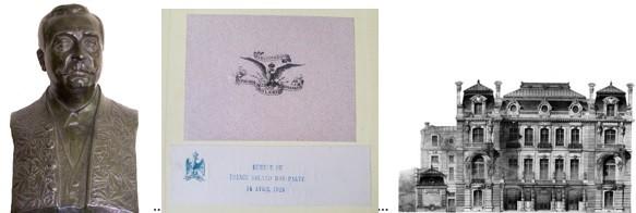 Buste de Roland Bonaparte en habit d'académicien. Ex-libris dans la bibliothèque botanique de Roland Bonaparte. Façade de l'hôtel particulier de l'avenue d'Iéna à Paris, dessiné par l'architecte E. Janty.