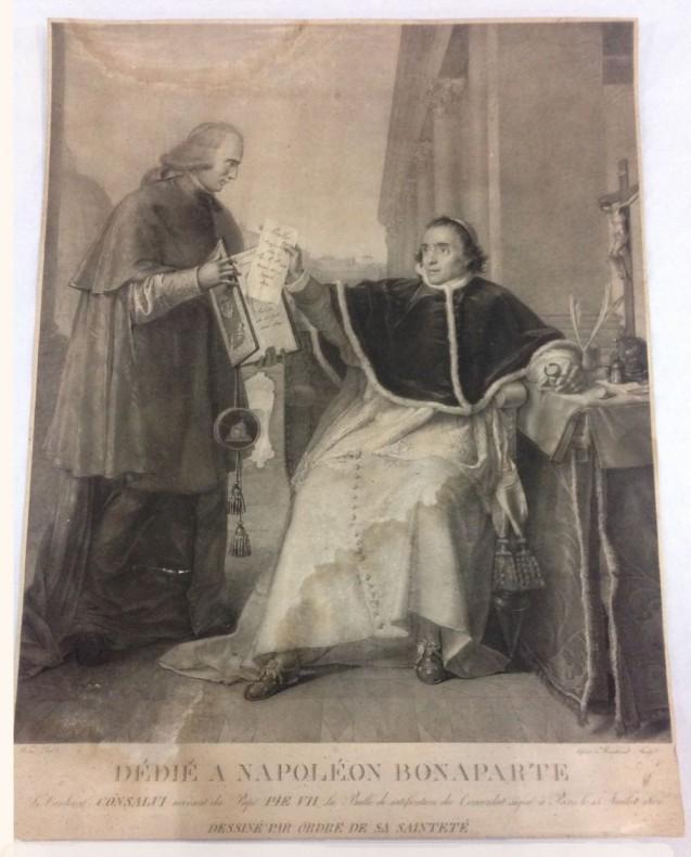Signature du Concordat entre la France et le Saint-Siège, par le pape Pie VII, le 15 août 1801 (le cardinal Consalvi recevant du Pape la ratification du Concordat), (d'après), WICAR Jean Baptiste © Fondation Napoléon