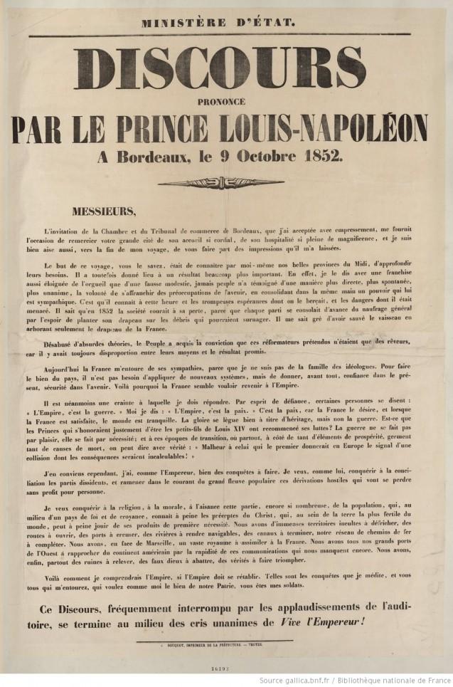 Document > Discours de Bordeaux, 9 octobre 1852 : commentaire et extraits, affiche à télécharger