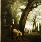 Portrait de Lucien Bonaparte, avec, à l'arrière plan, sa femme Christine auprès du tombeau de leur enfant morte