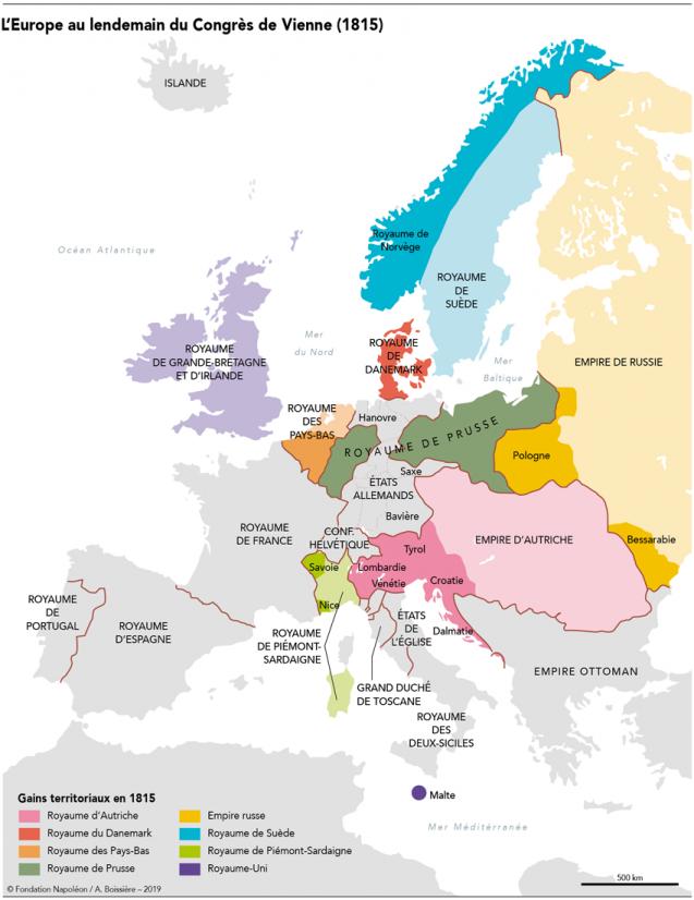 Carte de l'Europe en 1815 après le Congrès de Vienne