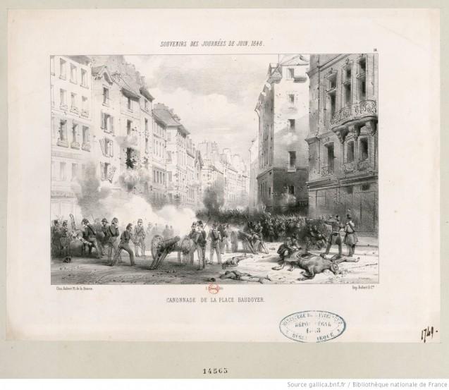 Canonnade de la Place Baudoyer : [estampe] <br>© BnF Gallica (identifiant ark:/12148/btv1b53015449f)