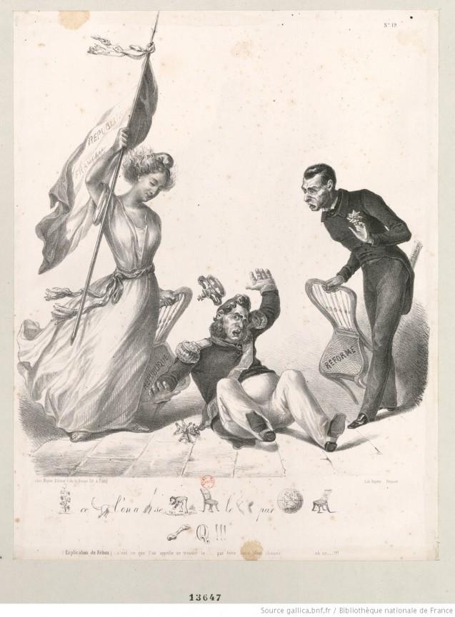 """Caricature de Louis-Philippe qui s'effondre entre les deux chaises """"République"""" et """"Réforme"""" <br>que la France et Guizot écartent chacun d'un côté : [estampe] <br>© BnF Gallica (identifiant ark:/12148/btv1b530138513)"""
