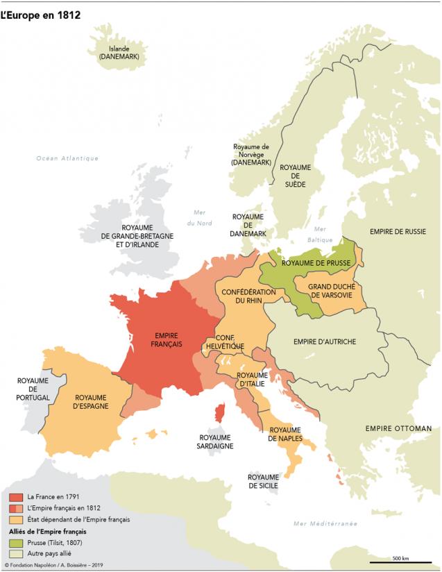 Vidéo et Carte (l'Europe en 1812) > Les coalitions européennes face à l'Empire napoléonien: tous contre Napoléon ? (3 min 04)