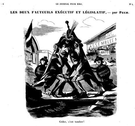 """""""Les deux fauteuils exécutif et législatif"""", in Le Journal pour rire, 28 novembre 1851 <br>© BnF Gallica (identifiant ark:/12148/bpt6k5499360j)"""