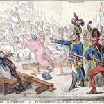 """Caricature """"Exit libertè a la Francois—or—Buonaparte closing the farce of Egalitè, at St. Cloud near Paris Novr. 10th. 1799"""""""