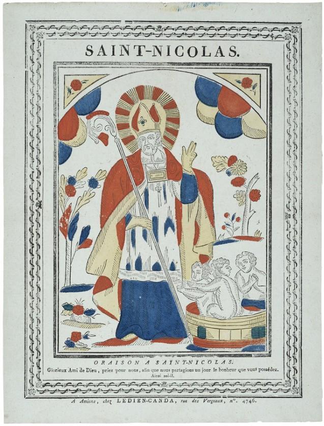 Saint Nicolas, Entre 1814-1829, Ledlen-Canda, Amiens, Gravure sur bols coloriée au pochoir 39.7 X 30.2 cm, Coll. Musée de !'Image, Épinal © Musée de !'Image -Ville d'Éplnal / cliché H. Rouyer