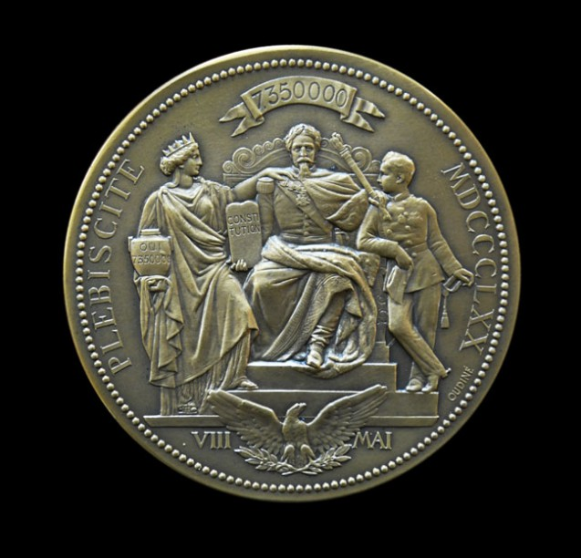 Plebiscite of 8 May 1870: Medal bearing the portraits of Napoleon III and Napoleon Eugène Louis, Prince Imperial