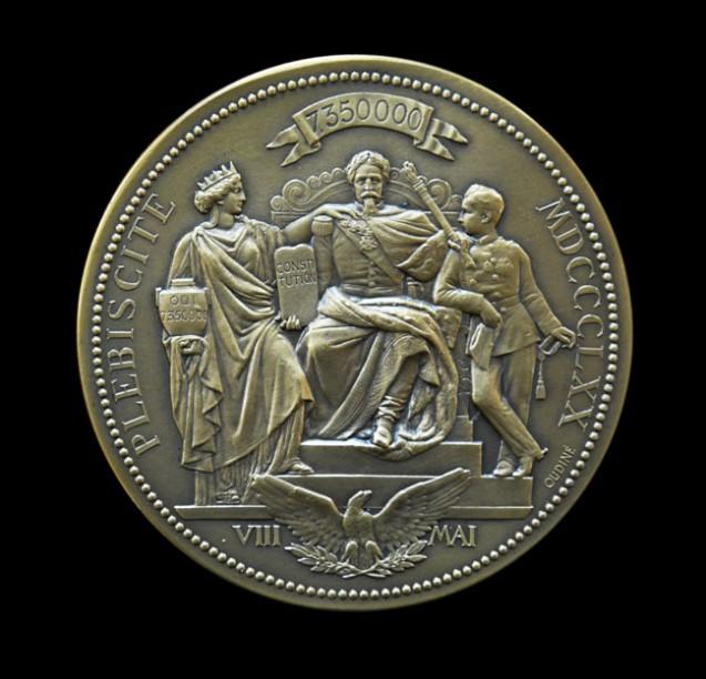 Plébiscite du 8 mai 1870 : Médaille à l'effigie de Napoléon III et du Prince impérial Napoléon Eugène Louis