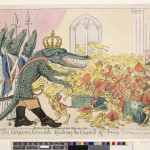 Caricature: The Corsican crocodile dissolving the council of frogs!!!