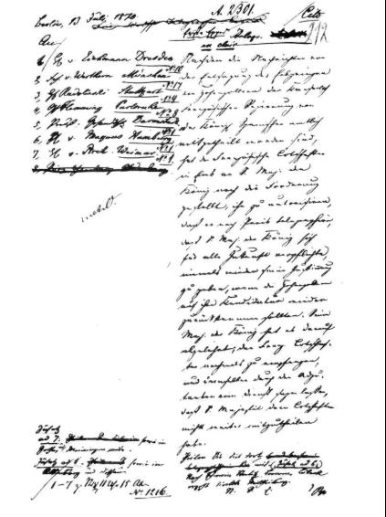 Expédition de la dépêche d'Ems, « corrigée » édité, sous le paraphe «vBu» © aktenkunde.hypotheses.org (PA AA, R 11674)