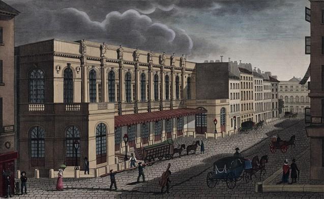 Vue de la nouvelle salle de l'Opéra prise de la rue de Provence © New York Public Library Digital Collections.
