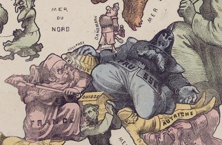 Carte drôlatique d'Europe pour 1870, par Paul Hadol (1870)