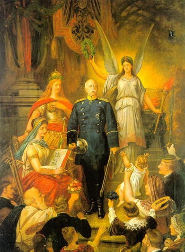Cette apothéose de Bismarck est peinte lors Bismarck est renvoyé par Guillaume II. Le chancelier du même monument est entouré des figures allégoriques de la Victoire, de la Germanie et de la muse de l'Histoire, Clio. Par Ludwig Rudow, 1890 © Deutsches Historisches Museum, Berlin