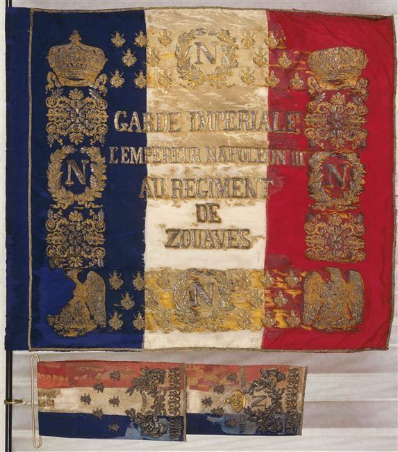 Le drapeau du régiment de zouaves de la Garde impériale, modèle 1854
