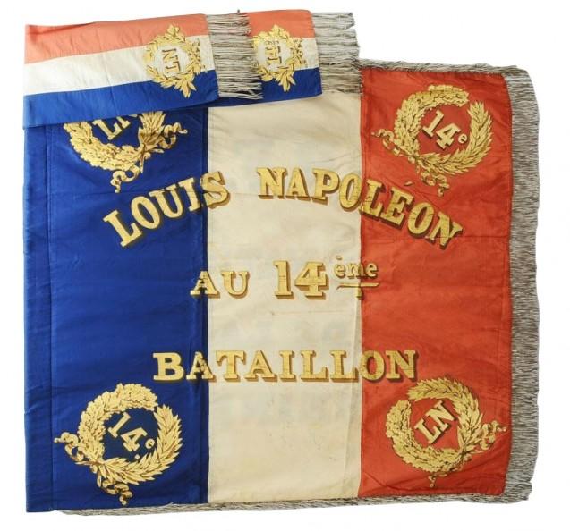 Modèle de drapeau 1852, voulu par Louis-Napoléon Bonaparte, prince-président de la IIe République © AnticStore