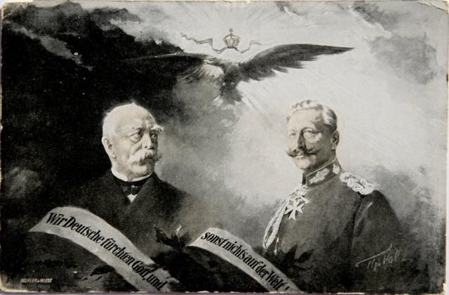 Carte postée de 1915 reprenant la célèbre phrase tronquée de Bismarck dans son discours de 1888 © Colnect.com : GER/EMP-Coln-0041