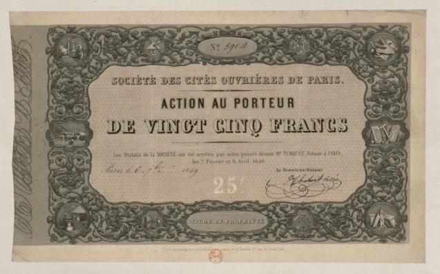 Société des cités ouvrières de Paris. Action au porteur de vingt-cinq francs, datée du 6 septembre 1849 <br>© BnF Gallica
