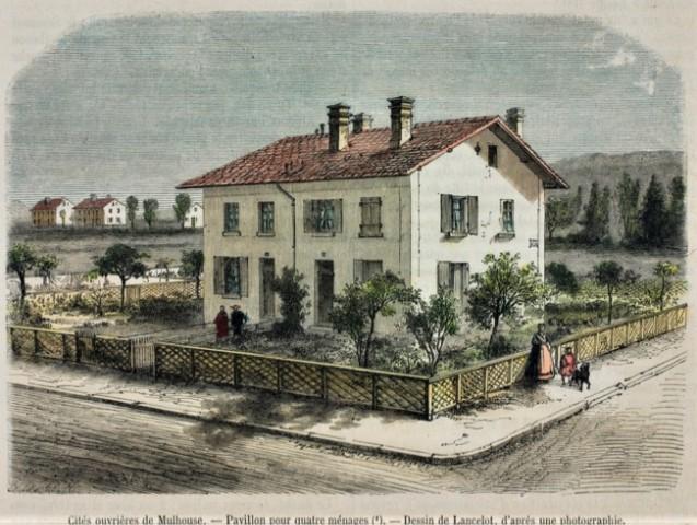 Groupe des maisons ouvrières de Mulhouse, <br>gravure de D. Lancelot d'après une photographie de M. Kohler-Dietz © Patrick Kamoun