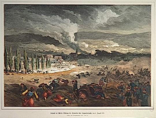 Bataille de Woerth, 6 août 1870, anonyme. On note en bas à gauche de la représentation une représentation d'un tirailleur algérien<br>© RMN-Grand Palais - Agence Bulloz