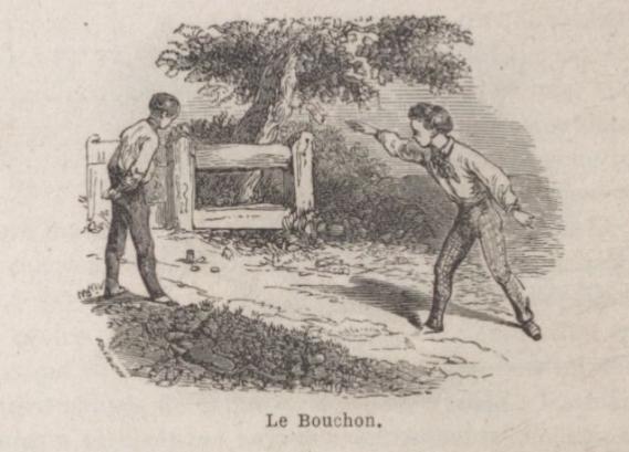 Le jeu du bouchon. Source : G. Belèze, Jeux des adolescents, Paris, 1858, p. 122 <br>© BnF/Gallica ark:/12148/bpt6k30443659