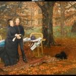 L'impératrice Eugénie et le Prince impérial dans le jardin de Camden Place