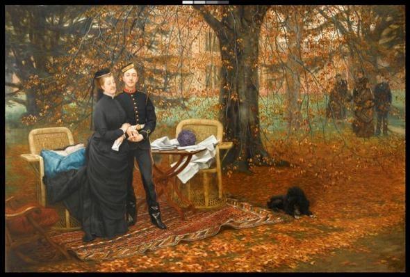 L'impératrice Eugénie et le Prince impérial dans le jardin de Camden / Franck Raux Place en 1874, James Tissot<br> © Musée du château de Compiègne