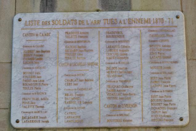 Liste des morts pour la France dans l'arrondissement de Figeac durant la guerre de 1870 <br>© Commune de Figeac. Photo : Stéphane Caray