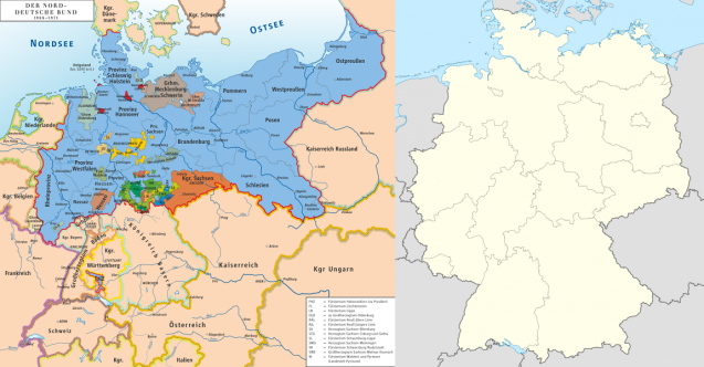 À gauche : La confédération d'Allemagne du Nord (en bleu clair) et les autres états allemands. À droite : la République fédérale d'Allemagne actuelle