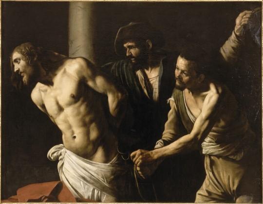 """Le Caravage, """"La flagellation du Christ à la colombe"""", 1606 <br>© RMN-GP (Gérard Blot) / Musée des beaux-arts Rouen (https://art.rmngp.fr)"""